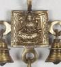 Brown & Gold Brass Goddess Laxmi Hanging Bells by eCraftIndia