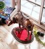 eCraftindia Brown & Red Metal Kamdhenu Cow & Calf Figurine