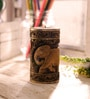 Brown Wooden Elephant Carved Multipurpose Hand Painted Candle Stand by eCraftIndia