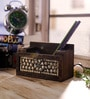 eCraftindia Brown Wooden Jewelled Multipurpose Pen Stand