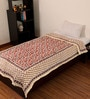 eCraftIndia Designer Red Cotton Floral Single Bed Jaipuri Quilt