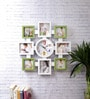 Green & White Plastic & Glass 16 x 1 x 16 Inch Family Collage Photo Frame with Wall Clock by eCraftIndia