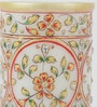 Multicolour Makrana Marble Embossed Decorative Floral Pen Stand by eCraftIndia