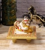 Multicolour Makrana Marble Laddu Gopal on Chowki by eCraftIndia