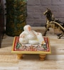 Multicolour Marble & Polyresin Lord Ganesha Resting on Chowki by eCraftIndia