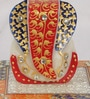 Multicolour Marble Lord Ganesha on Chowki by eCraftIndia