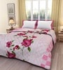 eCraftIndia Pink Floral Poly Cotton 84 x 54 Inch Single Bed Reversible AC Blanket