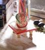 Red & White Marble Lord Ganesha on Chowki by eCraftIndia