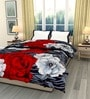 eCraftIndia Red & Gray Cotton Floral Single Bed Reversible AC Comforter