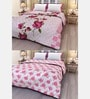 eCraftIndia Multicolor Cotton Floral Single Bed Reversible AC Blanket - Set of 2