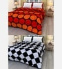 eCraftIndia Multicolor Cotton Geometric Single Bed Reversible AC Blanket - Set of 2