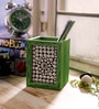 Silver & Green Wooden Jewelled Pen Stand by eCraftIndia