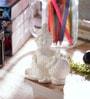 eCraftindia White Synthetic Fibre Laddu Gopal Statue Having Makhan