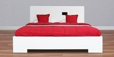 Edwina Gloss Queen Size Bed with Hydraulic Storage in White Finish