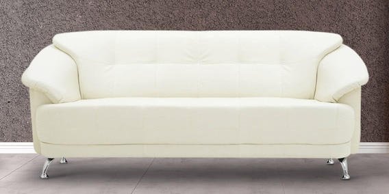 Edo Three Seater Sofa In Ivory Colour By Furnitech
