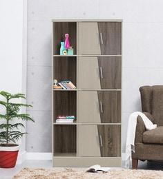 Eight Door Book Case Cum Display Unit In Light Oak Finish