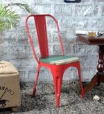 Ekati Metal Chair in Distress Red Color with Wooden Seat
