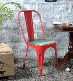 Ekati Metal Chair in Distress Red Color with Wooden Seat by Bohemiana at pepperfry