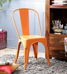 Ekati Metal Chair In Orange Color With Eyelet