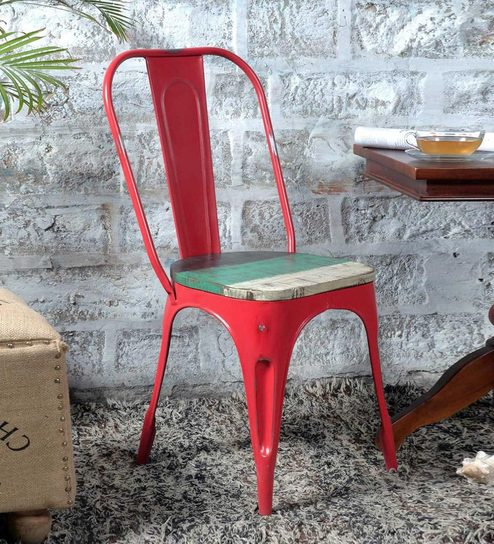 Buy Ekati Metal Chair In Distress Red Colour With Wooden Seat By