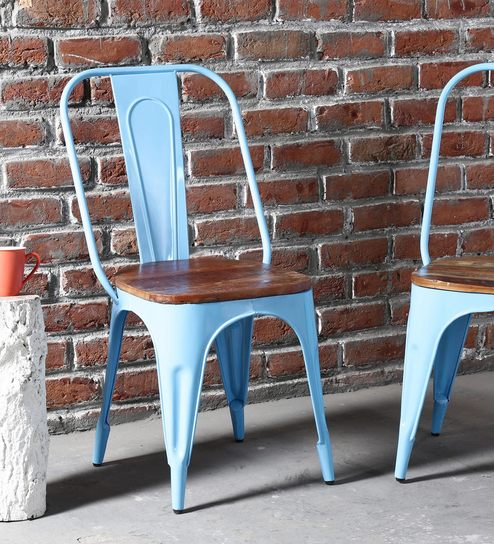 wooden and metal chairs rustic kumtor metal chair in sky blue colour with wooden seat by bohemiana buy