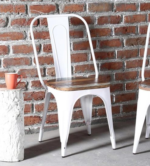 Delicieux Kumtor Metal Chair In White Colour With Wooden Seat By Bohemiana