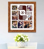 Brown Wooden 26 x 1 x 28 Inch Selfies Pattern 2 Collage Photo Frame