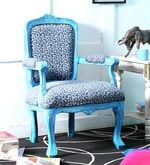 Elton Arm Chair in Blue Distress Finish
