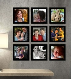 Elegant Arts and Frames Black Synthetic 26 x 1 x 26 Inch Group 9-A Wall Collage Photo Frame at pepperfry