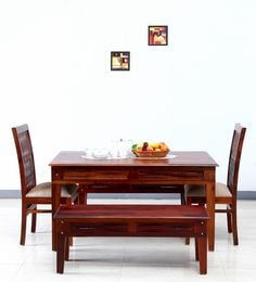 Elliston Six Seater Dining Set In Honey Oak Finish