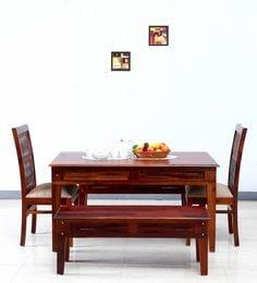 Elliston Six Seater Dining Set In Honey Oak Finish