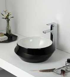 Elvera Art Table Top Wash Basin, Black & White Finish