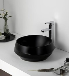 Elvera Art Table Top Wash Basin, Matt Black Finish - 1720002