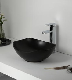 Elvera Art Table Top Wash Basin, Matt Black Finish