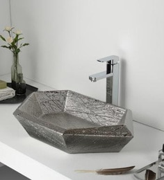Elvera Art Table Top Wash Basin, Matt Silver Finish