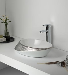 Elvera Art Table Top Wash Basin, White With Matt Silver Finish