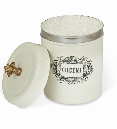 Elan Bergen Off White Stainless Steel Canister