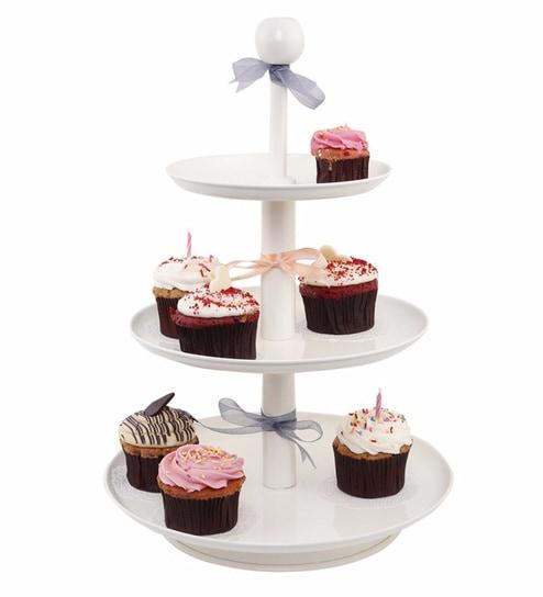 Elan Off White Three Tier Metal Cup Cake Dessert Stand