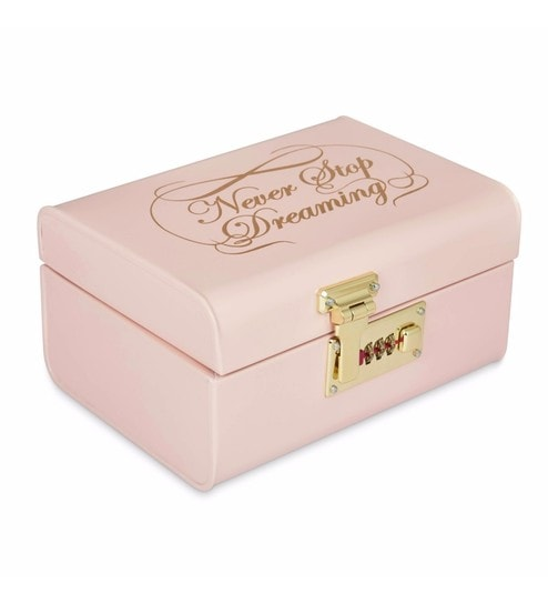 Ordinaire Elan Vintage Style Never Stop Dreaming Powder Coated Steel Powder Pink  Storage Trunk With Lock