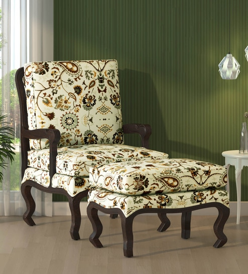 Peachy Eleanor Arm Chair With Foot Stool In Provincial Teak Finish By Amberville Pabps2019 Chair Design Images Pabps2019Com