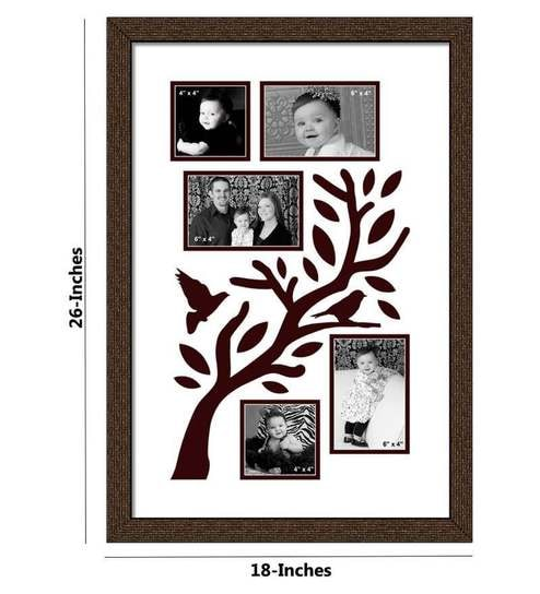 Elegant Arts and Frames Family Tree Brown Synthetic Wood Collage ...