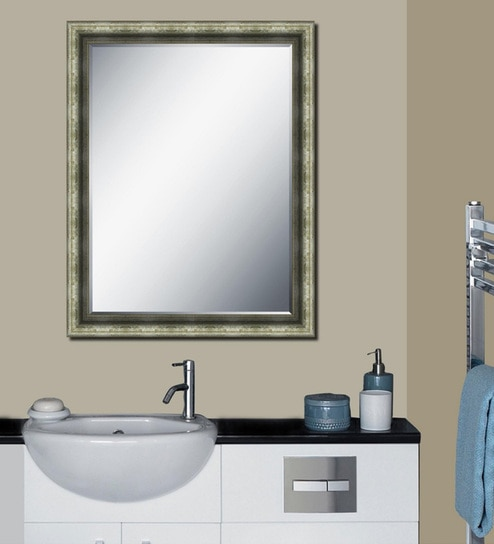 Wooden Framed Silver Bathroom Mirror L 22 H 28 Inches By Elegant Arts Frames
