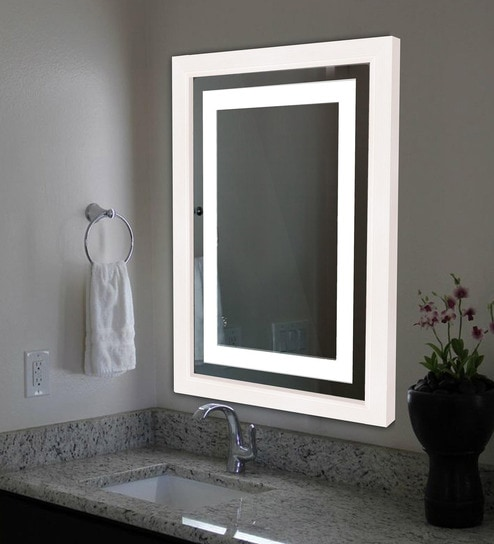 Wooden Led Bathroom Mirror In White