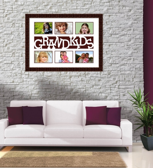 Buy Brown Synthetic Wood 24 x 1 x 18 Inch Grandkids Collage Photo ...