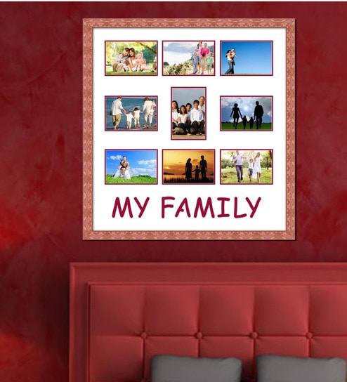 Buy Brown Wooden 24 x 1 x 25 Inch My Family Collage Photo Frame by ...