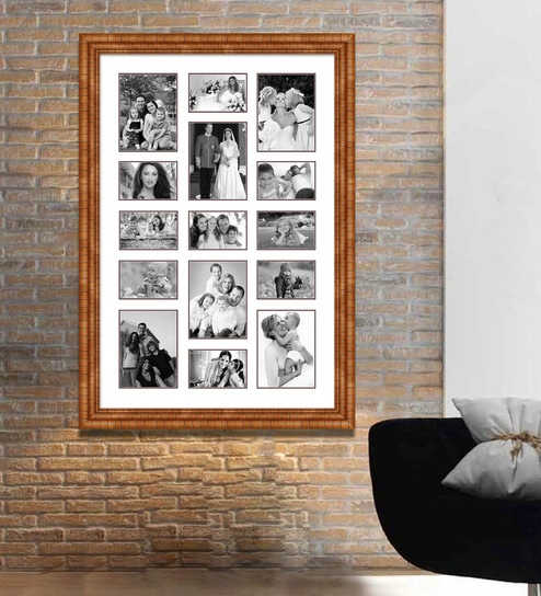 Buy Brown Wooden 28 X 1 X 40 Inch 15 Pocket Family Collage Photo