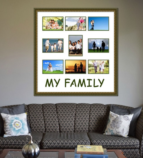 Buy Elegant Arts and Frames Green Wooden 24 x 1 x 25 Inch My Family ...