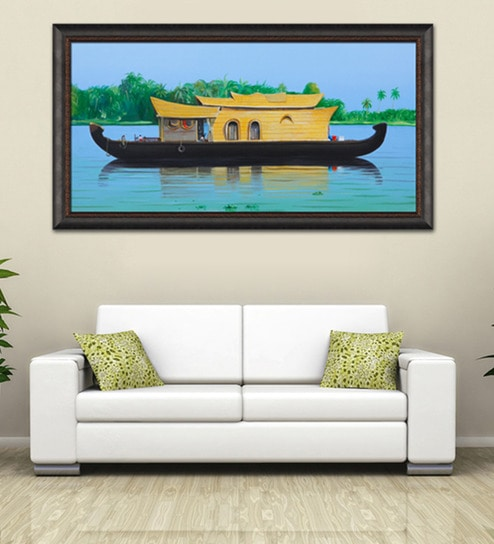 Buy Elegant Arts and Frames Canvas 63.5 x 34 Inch House Boat Framed ...