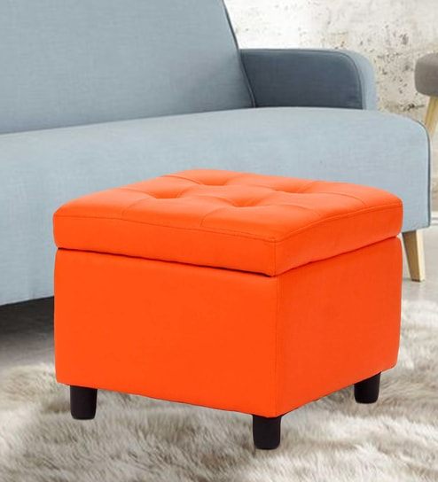 Excellent Kayla Multipurpose Ottoman With Storage In Orange Colour By Workspace Interio Machost Co Dining Chair Design Ideas Machostcouk