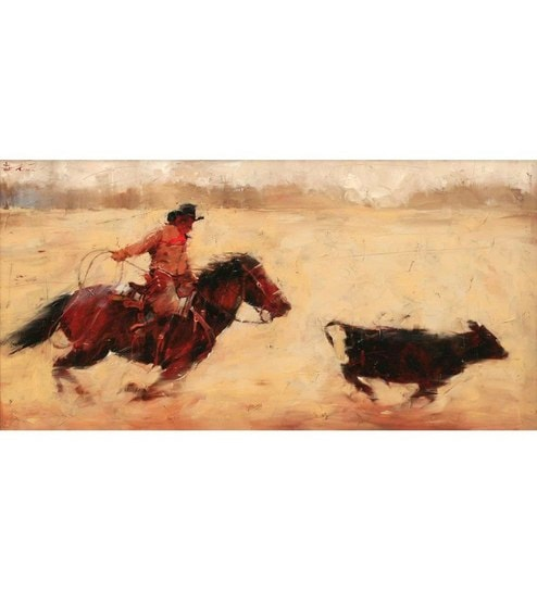 Elite Collection Chasing Cow Boy Multicolour Canvas Easy to Maintain  Digital Art Print